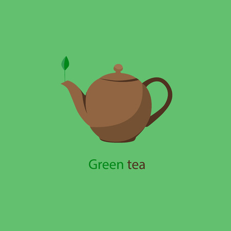 pause icon: Fragrant green tea. Tea kettle isolated on a green background.