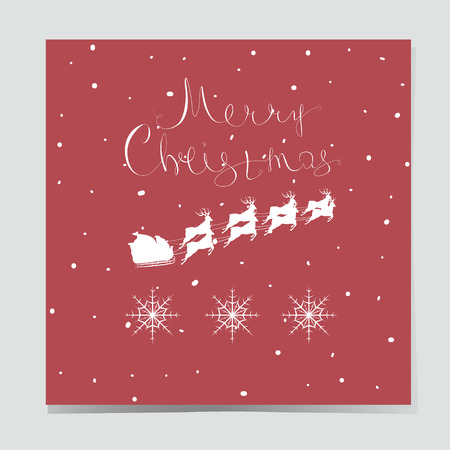 santa sleigh: Christmas card with deer and lettering isolated on a red background. Cute vector illustration for greeting cards, invitations and prints. Merry Christmas.