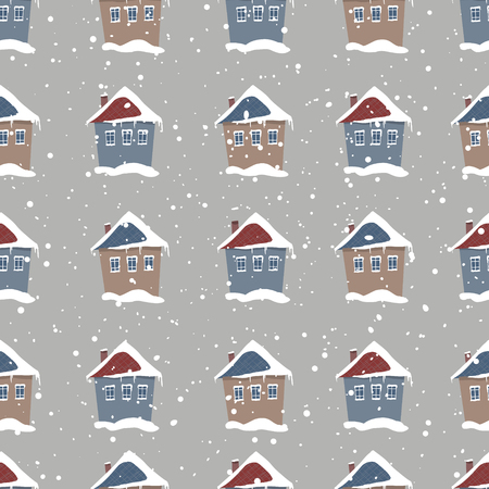 Lovely Christmas house in the snow. Hand Drawn holiday illustration isolated on background. Snowfall. Winter. Vector illustration. Seamless pattern.