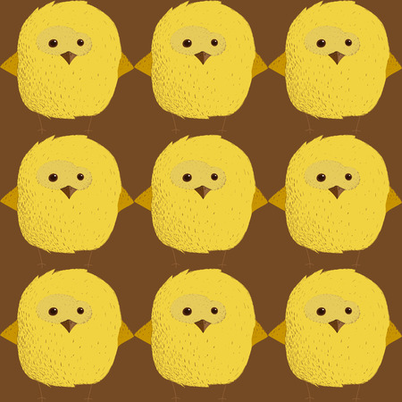 Funny cute chick. Easter day. Vector illustration. Seamless pattern.