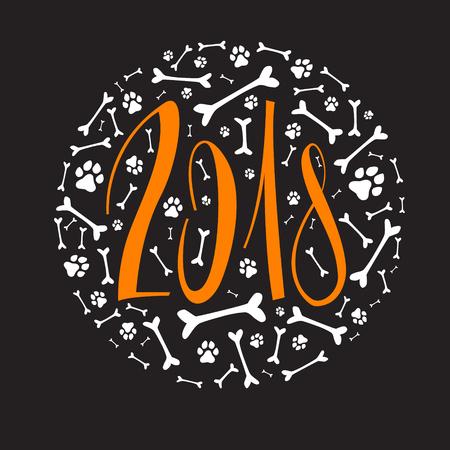 Neues Jahr-Beschriftung-2018. Knochen Hundespuren Vektorabbildung getrennt auf schwarzem Hintergrund. Jahr des Hundes Frohes neues Jahr. Standard-Bild - 88844248