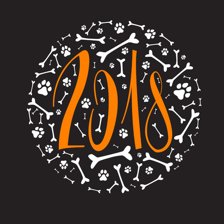 New year lettering-2018. Bones. Dog tracks. Vector Illustration Isolated on black background. Year of the dog.  Happy New Year.