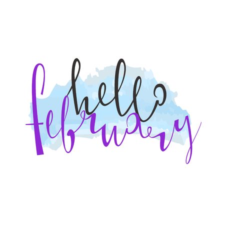 Hello Februaru. Cute lettering is isolated on a white background. Vector illustration. Winter. Snow. Merry Christmas. Happy new year. 2018.