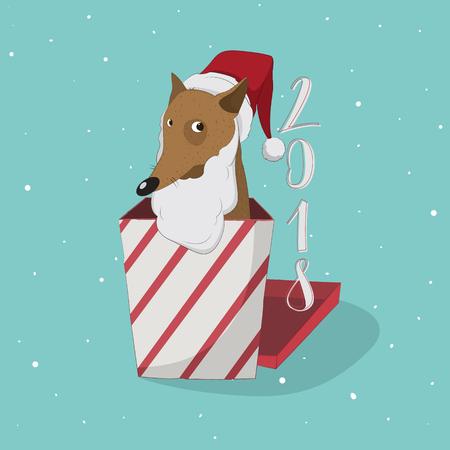 Cute dog with beard and Santa hat inside a Christmas box.
