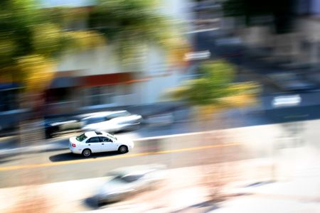 View of a car moving in the street below. Stock Photo - 2457937