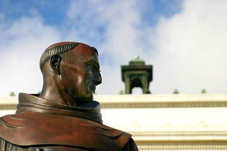 Junipero Serra statue in front of the city hall in Ventura California Stock Photo