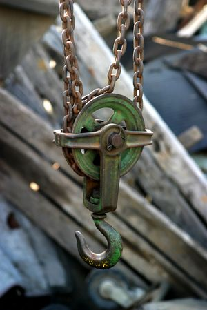 A block and tackle in a junk yard. Stock Photo - 2512224
