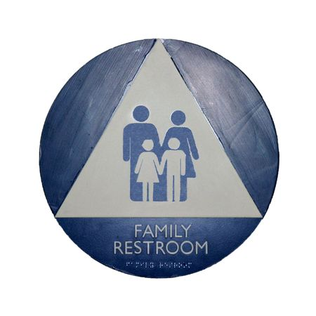 A blue, white, and gray restroom sign for families