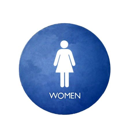 bathroom sign: A blue and white sign for a womens bathroom Stock Photo