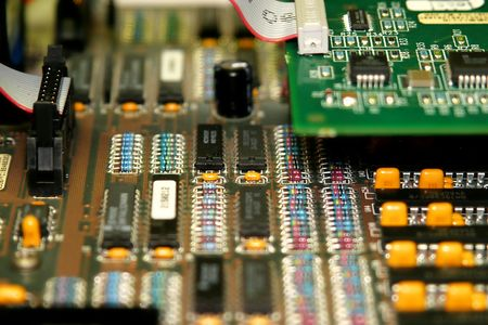 microcomputer: motherboard with different types of chips and colors Stock Photo