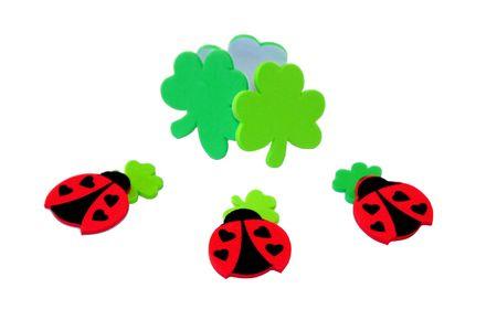patrics: Ladybugs with clovers for St. Patrics Day Stock Photo