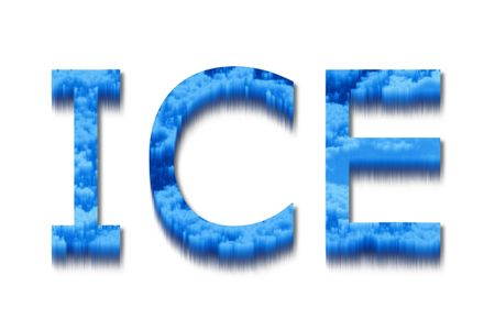 icy: The word ice with a blue and icy texture.