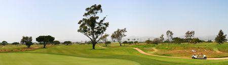 Panoramic shot of a golf fairway near Ventura Stock Photo