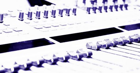 Mixing Console - high key - filtered to a blue purple monochrome