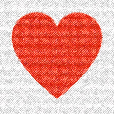 Red heart mosaic made from little tiles.