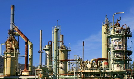 An abandoned oil refinery in Ventura California.