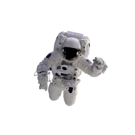 astronaut: Flying astronaut on a white background.  Some components of this image are provided courtesy of NASA, and have been found at nasaimages.org