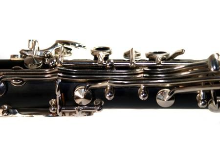 Classic Black B Clarinet on white background. photo