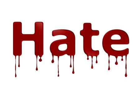 La parola odio sanguinoso su sfondo bianco. Archivio Fotografico - 4696713