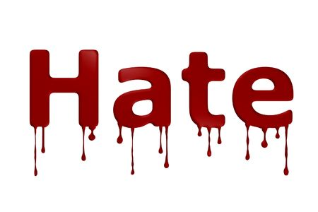 word: The word hate bloody on white background.