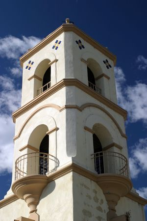 The Ojai post office tower with a nice blue sky and clouds