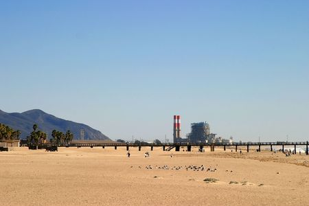Power station at a beach in southern California photo