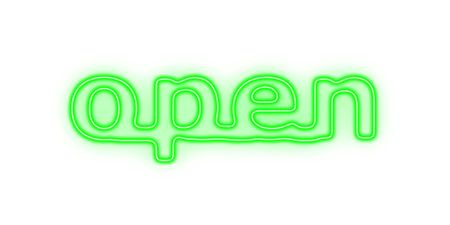 Green neon sign with the word open on white background Stock Photo - 4923478