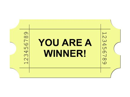 Yellow ticket on white background with sample writing YOU ARE A WINNER Stock Photo