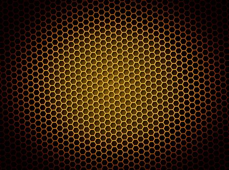grid: Golden honeycomb background 3d illustration or backdrop with light effect