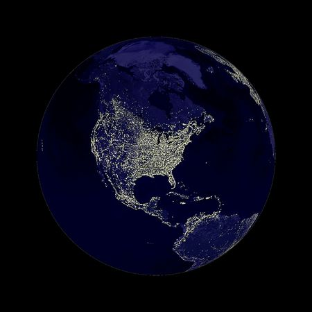 gravitational: Earth globe with north America lights showing on black background. Stock Photo