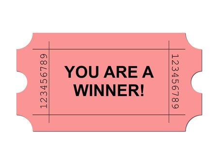 Red ticket on white background with sample writing YOU ARE A WINNER