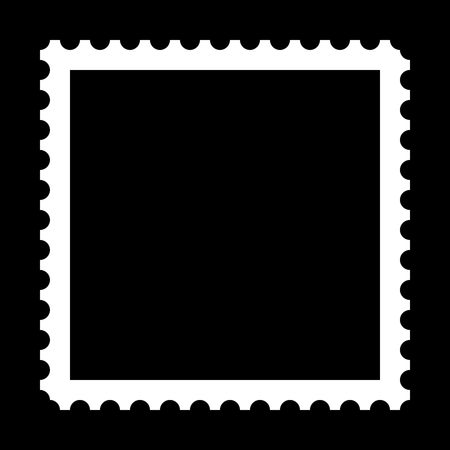 collectible: Square stamp with copy space on black background