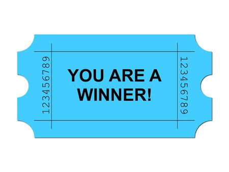 Blue ticket on white background with sample writing YOU ARE A WINNER
