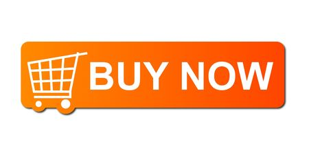 shops: Buy now button with a shopping cart on white background. Stock Photo
