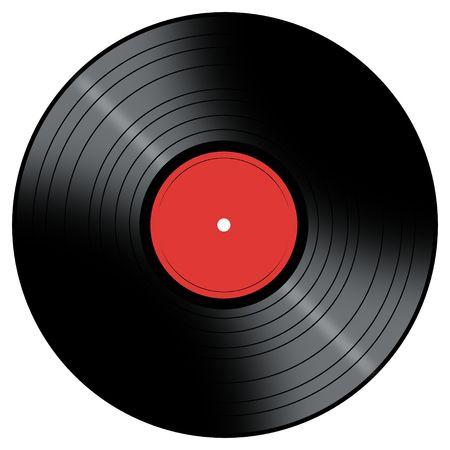 Vinyl Record met een kleur midden op een witte achtergrond. Stockfoto