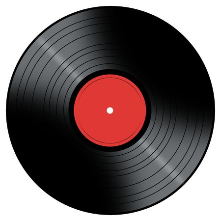 Vinyl Record with a color center on a white background. photo