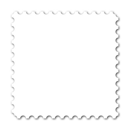 collectible: Square stamp with copy space on white background