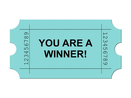 Green ticket on white background with sample writing YOU ARE A WINNER