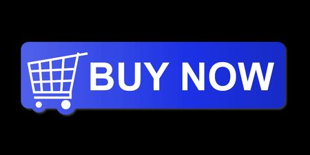 Buy now button with a shopping cart on black background. Stock Photo
