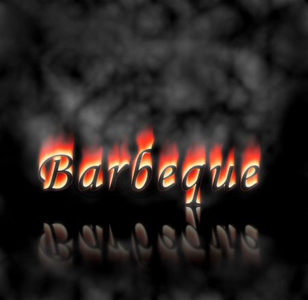 black background: Barbeque text on fire, flames and smoke on black background.