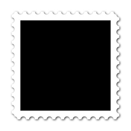 postage stamp: Square stamp with copy space on white background