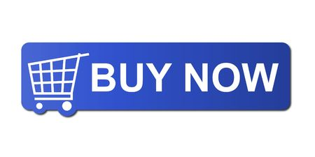 blue button: Buy now button with a shopping cart on white background. Stock Photo