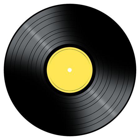 Vinyl Record met een kleur centreer op een witte achtergrond. Stockfoto
