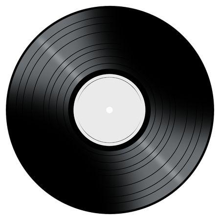 Vinyl Record met een kleur midden op een witte achtergrond.