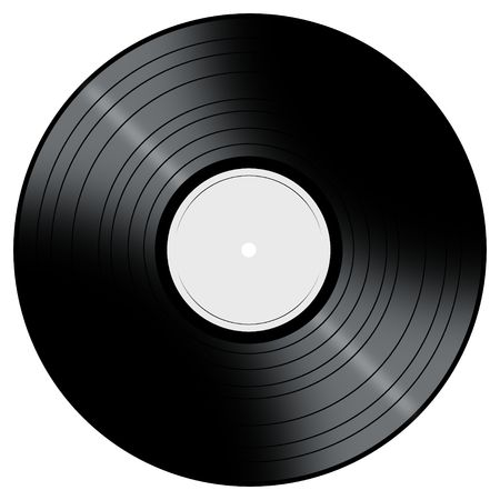 albums: Vinyl Record with a color center on a white background.