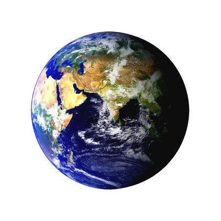 Earth wereldbol weergegeven op een witte achtergrond wolken zichtbaar zijn. Sommige onderdelen van dit beeld zijn hoffelijkheid van de NASA, en zijn gevonden op visibleearth.nasa.gov
