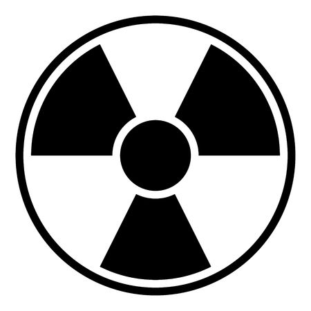 Round radiation warning sign on white background