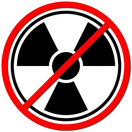 White sign against radiation on white background.