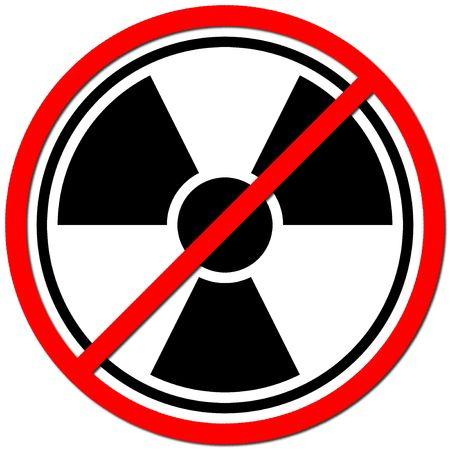 White sign against radiation on white background. photo