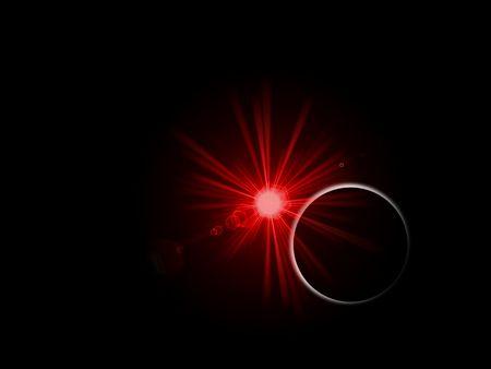 earthlike: Sunrise or sunset behind a planet on black background. Stock Photo